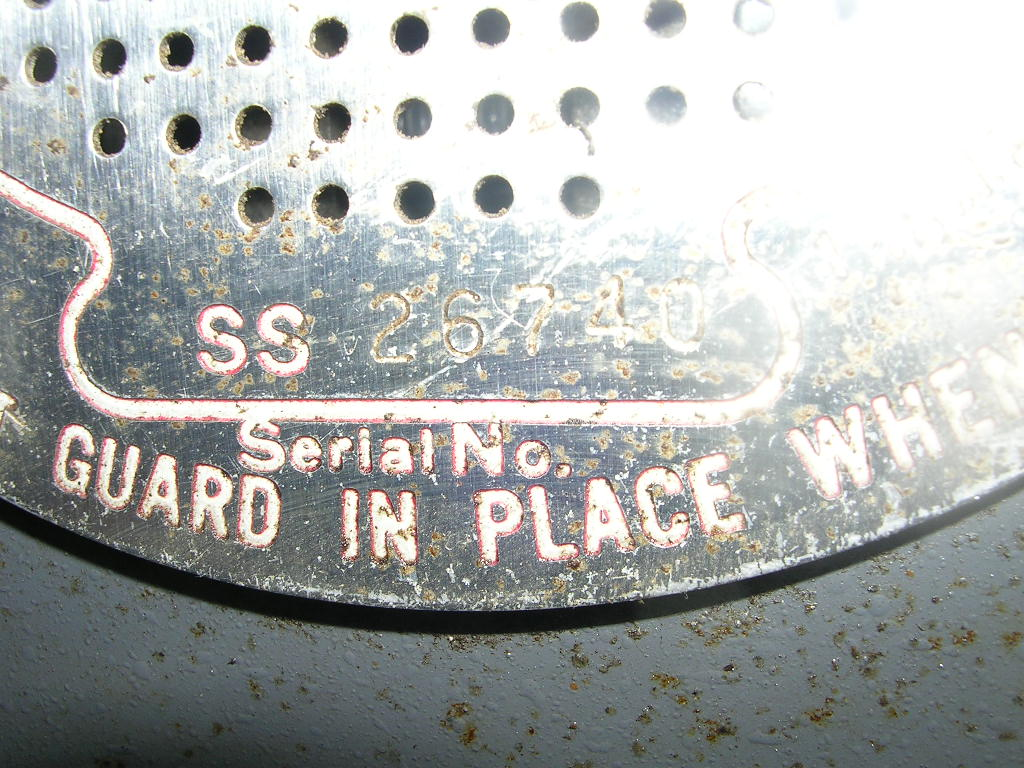 Year Serial Number Chart Jacobs Shopsmith Repair Shop Mark V Wiring Diagram Earlier Machines Have The Etched On Vent Plate Surrounding Idler Shaft
